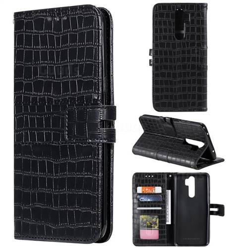 Luxury Crocodile Magnetic Leather Wallet Phone Case for Mi Xiaomi Redmi Note 8 Pro - Black