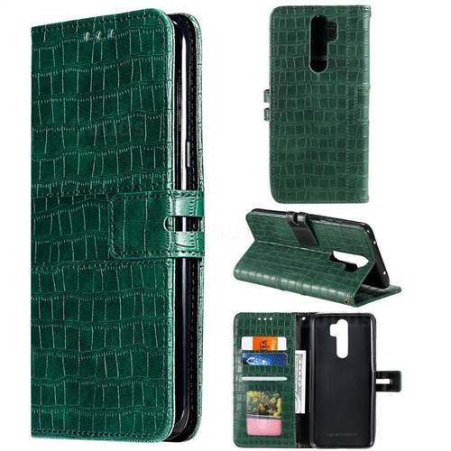 Luxury Crocodile Magnetic Leather Wallet Phone Case for Mi Xiaomi Redmi Note 8 Pro - Green