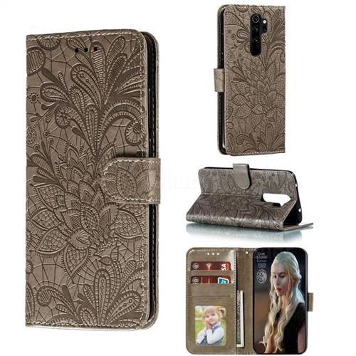 Intricate Embossing Lace Jasmine Flower Leather Wallet Case for Mi Xiaomi Redmi Note 8 Pro - Gray