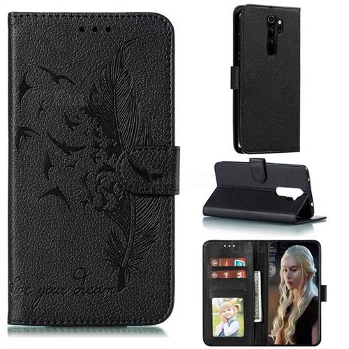 Intricate Embossing Lychee Feather Bird Leather Wallet Case for Mi Xiaomi Redmi Note 8 Pro - Black