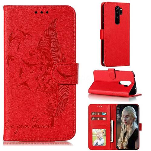 Intricate Embossing Lychee Feather Bird Leather Wallet Case for Mi Xiaomi Redmi Note 8 Pro - Red