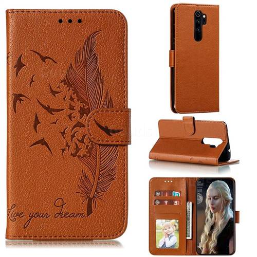Intricate Embossing Lychee Feather Bird Leather Wallet Case for Mi Xiaomi Redmi Note 8 Pro - Brown