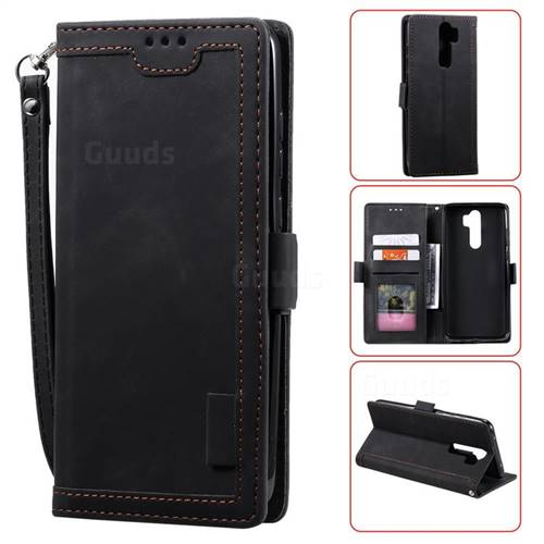 Luxury Retro Stitching Leather Wallet Phone Case for Mi Xiaomi Redmi Note 8 Pro - Black