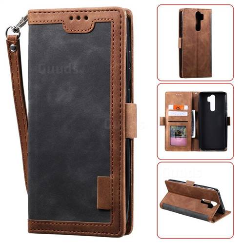 Luxury Retro Stitching Leather Wallet Phone Case for Mi Xiaomi Redmi Note 8 Pro - Gray