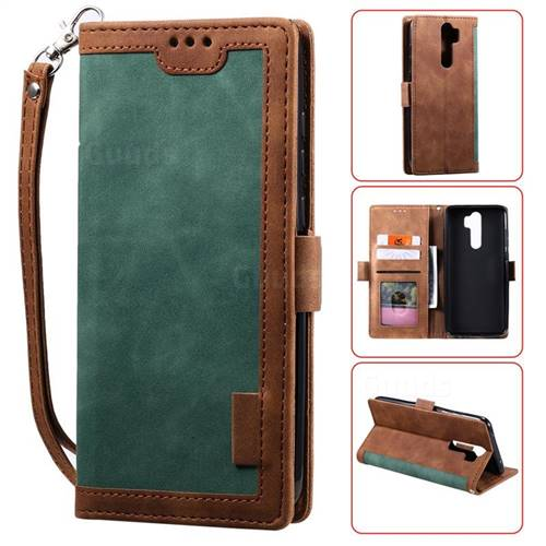 Luxury Retro Stitching Leather Wallet Phone Case for Mi Xiaomi Redmi Note 8 Pro - Dark Green