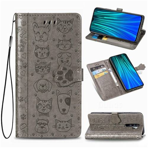 Embossing Dog Paw Kitten and Puppy Leather Wallet Case for Mi Xiaomi Redmi Note 8 Pro - Gray