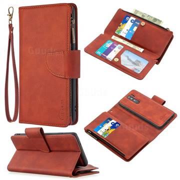 Binfen Color BF02 Sensory Buckle Zipper Multifunction Leather Phone Wallet for Mi Xiaomi Redmi Note 8 Pro - Brown