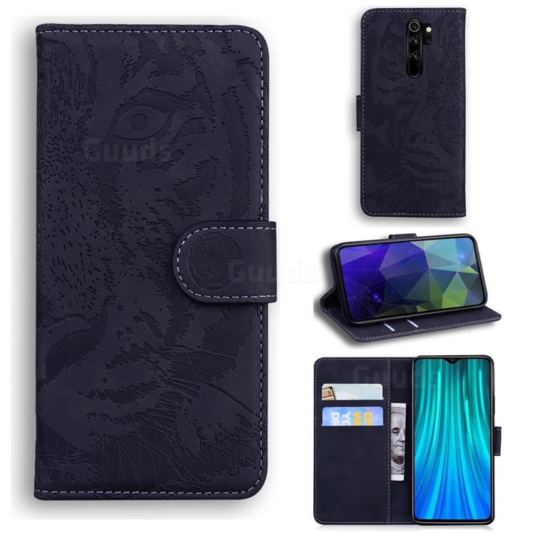 Intricate Embossing Tiger Face Leather Wallet Case for Mi Xiaomi Redmi Note 8 Pro - Black