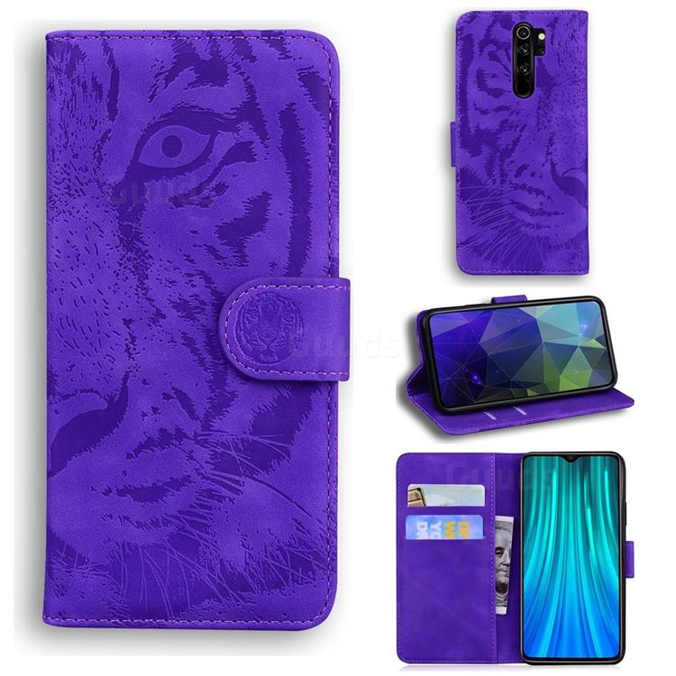 Intricate Embossing Tiger Face Leather Wallet Case for Mi Xiaomi Redmi Note 8 Pro - Purple