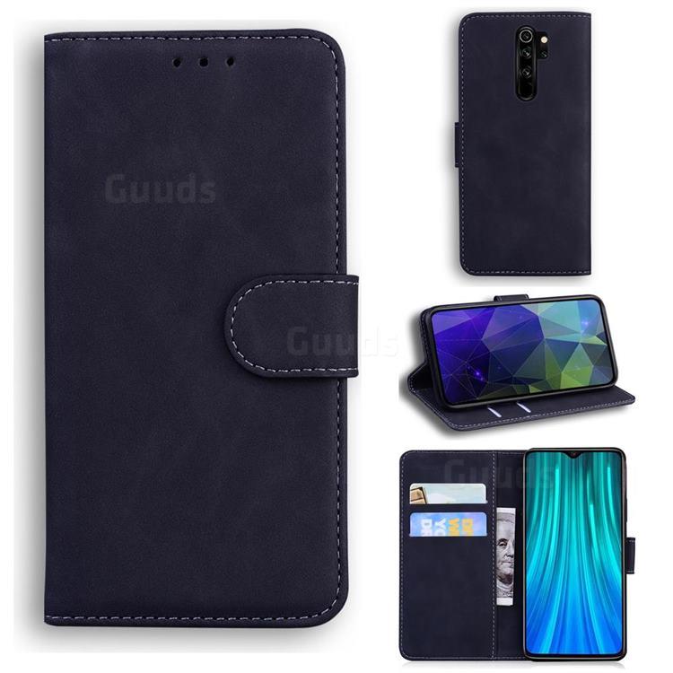 Retro Classic Skin Feel Leather Wallet Phone Case for Mi Xiaomi Redmi Note 8 Pro - Black