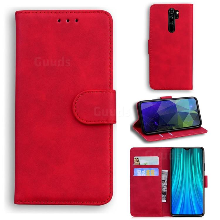 Retro Classic Skin Feel Leather Wallet Phone Case for Mi Xiaomi Redmi Note 8 Pro - Red