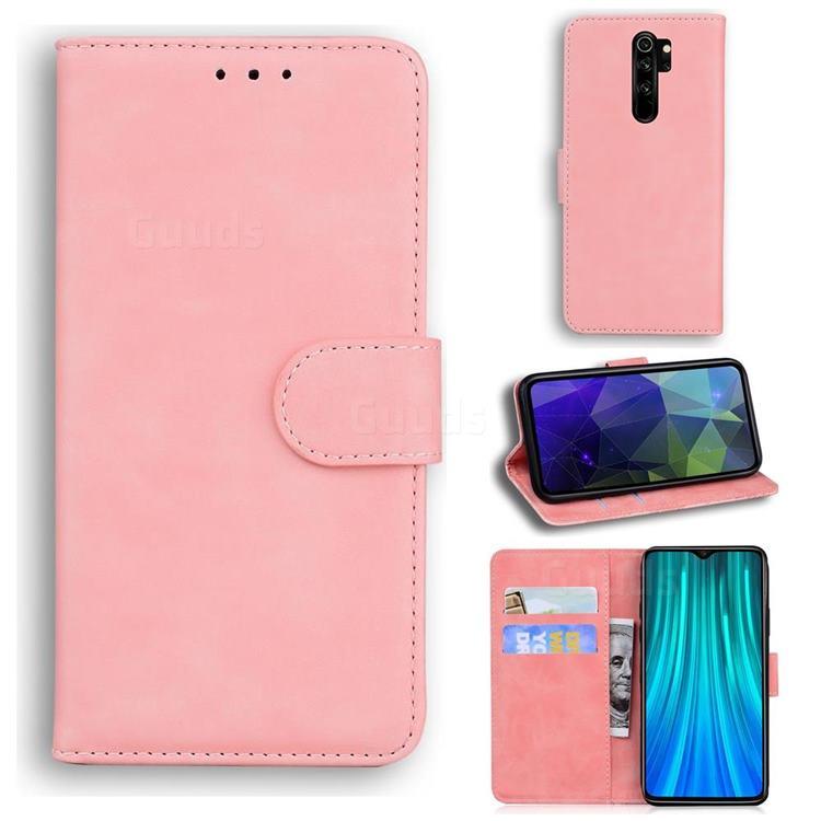 Retro Classic Skin Feel Leather Wallet Phone Case for Mi Xiaomi Redmi Note 8 Pro - Pink