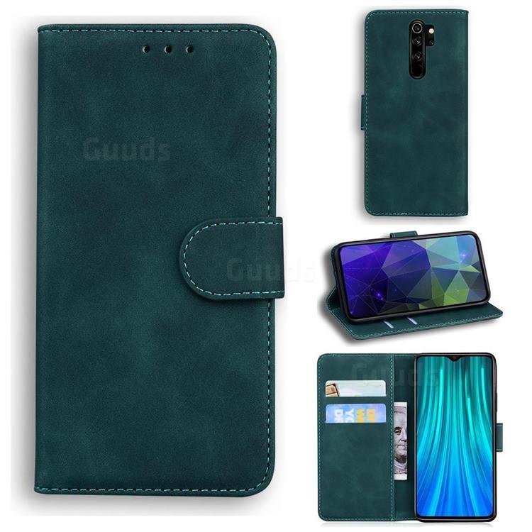 Retro Classic Skin Feel Leather Wallet Phone Case for Mi Xiaomi Redmi Note 8 Pro - Green