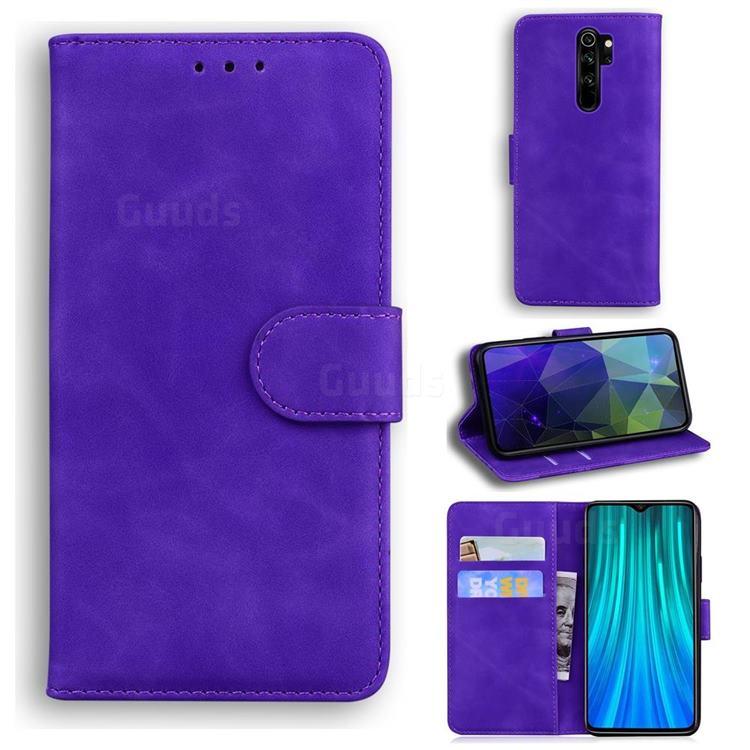 Retro Classic Skin Feel Leather Wallet Phone Case for Mi Xiaomi Redmi Note 8 Pro - Purple