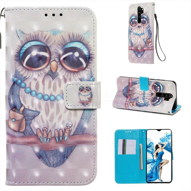 Sweet Gray Owl 3D Painted Leather Wallet Case for Mi Xiaomi Redmi Note 8 Pro
