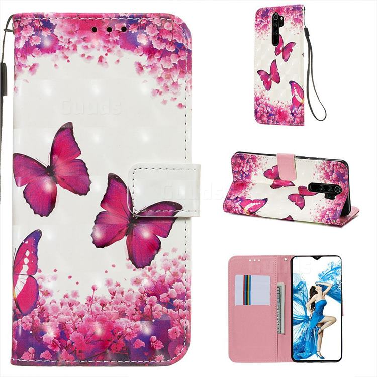 Rose Butterfly 3D Painted Leather Wallet Case for Mi Xiaomi Redmi Note 8 Pro