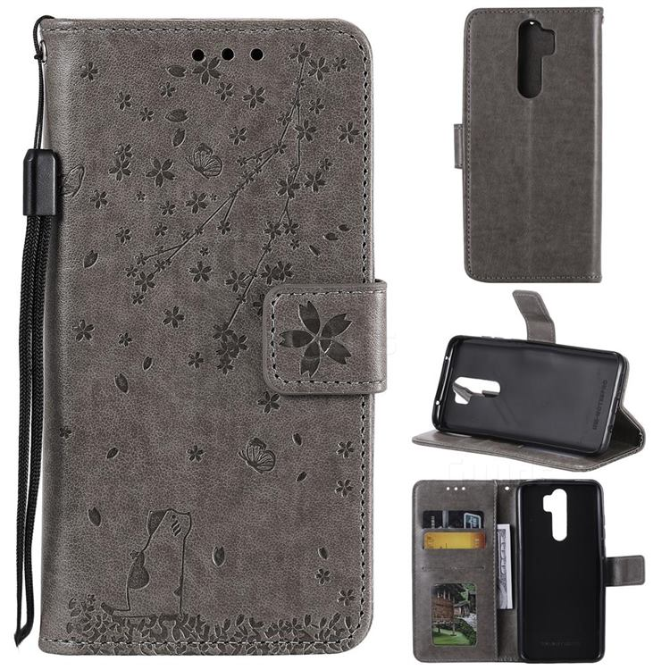 Embossing Cherry Blossom Cat Leather Wallet Case for Mi Xiaomi Redmi Note 8 Pro - Gray