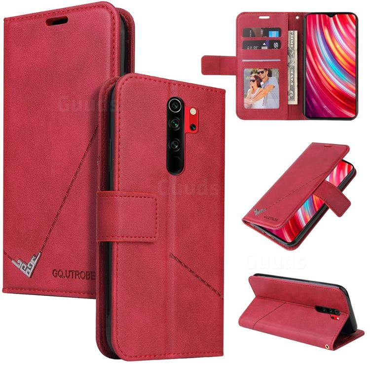 GQ.UTROBE Right Angle Silver Pendant Leather Wallet Phone Case for Mi Xiaomi Redmi Note 8 Pro - Red