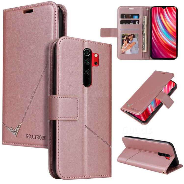 GQ.UTROBE Right Angle Silver Pendant Leather Wallet Phone Case for Mi Xiaomi Redmi Note 8 Pro - Rose Gold