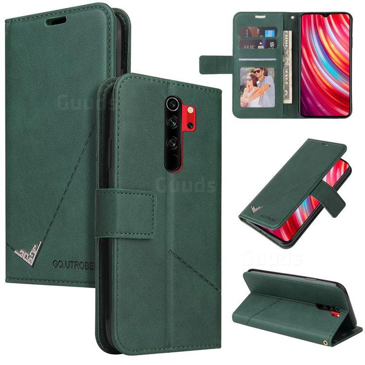 GQ.UTROBE Right Angle Silver Pendant Leather Wallet Phone Case for Mi Xiaomi Redmi Note 8 Pro - Green