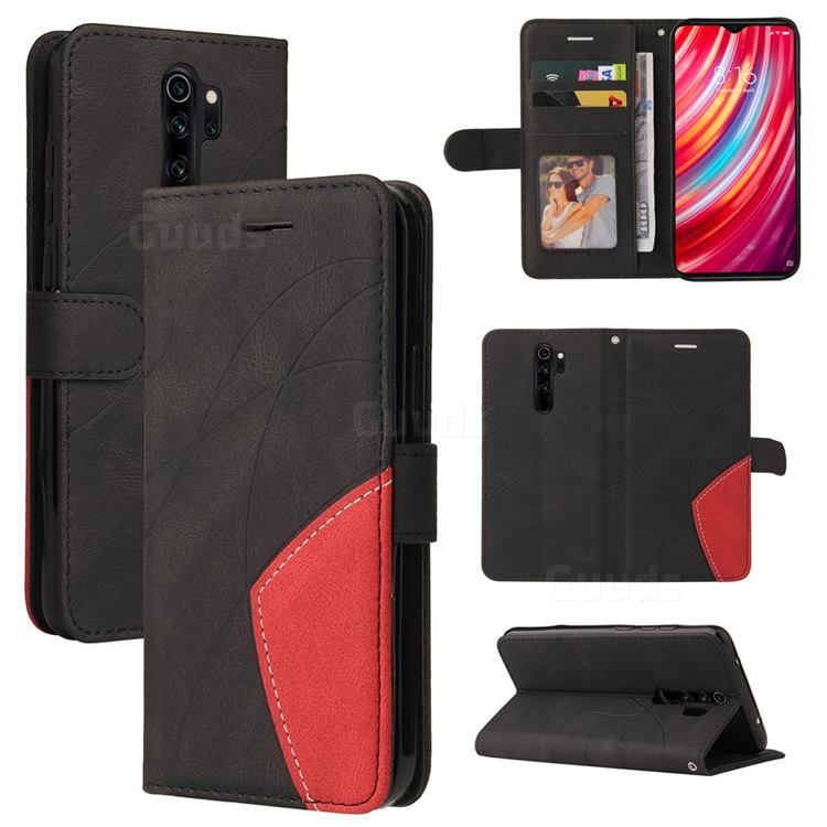 Luxury Two-color Stitching Leather Wallet Case Cover for Mi Xiaomi Redmi Note 8 Pro - Black