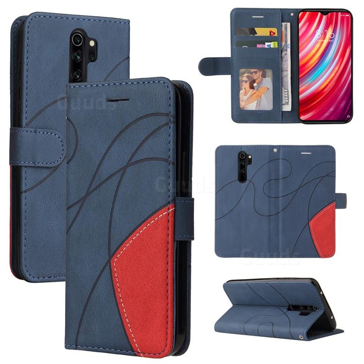 Luxury Two-color Stitching Leather Wallet Case Cover for Mi Xiaomi Redmi Note 8 Pro - Blue