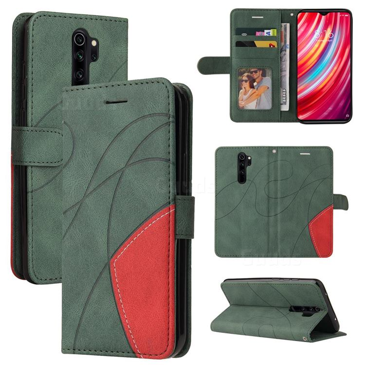 Luxury Two-color Stitching Leather Wallet Case Cover for Mi Xiaomi Redmi Note 8 Pro - Green