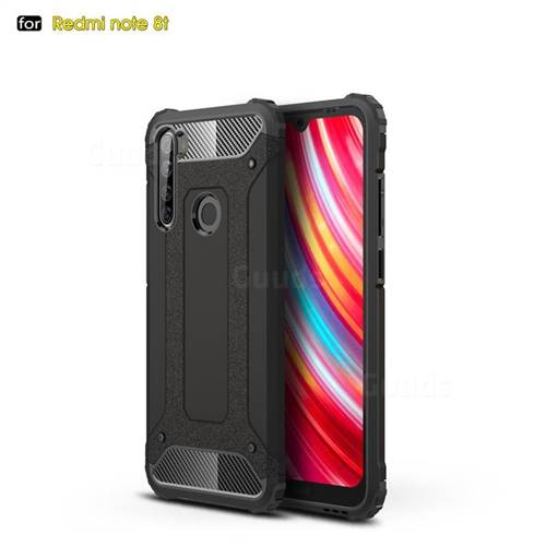 King Kong Armor Premium Shockproof Dual Layer Rugged Hard Cover for Mi Xiaomi Redmi Note 8T - Black Gold
