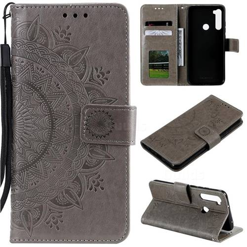 Intricate Embossing Datura Leather Wallet Case for Mi Xiaomi Redmi Note 8T - Gray