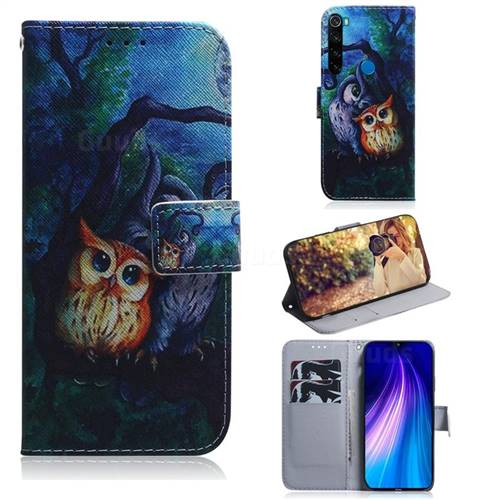 Oil Painting Owl PU Leather Wallet Case for Mi Xiaomi Redmi Note 8T