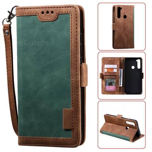 Luxury Retro Stitching Leather Wallet Phone Case for Mi Xiaomi Redmi Note 8T - Dark Green