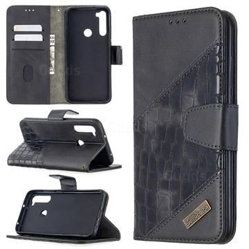 BinfenColor BF04 Color Block Stitching Crocodile Leather Case Cover for Mi Xiaomi Redmi Note 8T - Black
