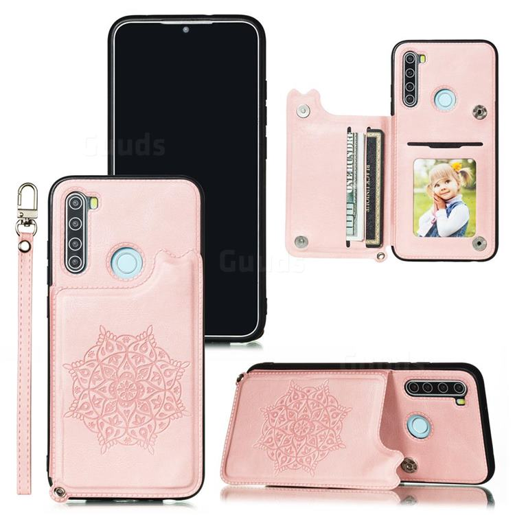 Luxury Mandala Multi-function Magnetic Card Slots Stand Leather Back Cover for Mi Xiaomi Redmi Note 8T - Rose Gold