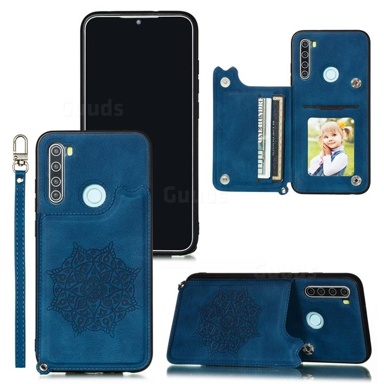 Luxury Mandala Multi-function Magnetic Card Slots Stand Leather Back Cover for Mi Xiaomi Redmi Note 8T - Blue