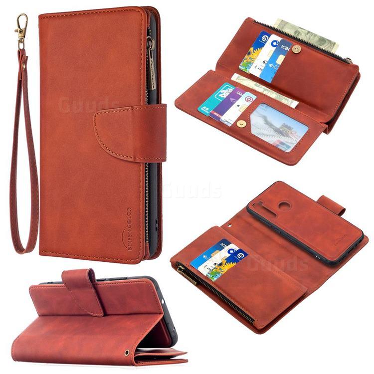 Binfen Color BF02 Sensory Buckle Zipper Multifunction Leather Phone Wallet for Mi Xiaomi Redmi Note 8T - Brown