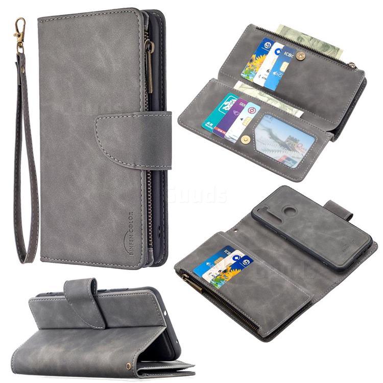 Binfen Color BF02 Sensory Buckle Zipper Multifunction Leather Phone Wallet for Mi Xiaomi Redmi Note 8T - Gray