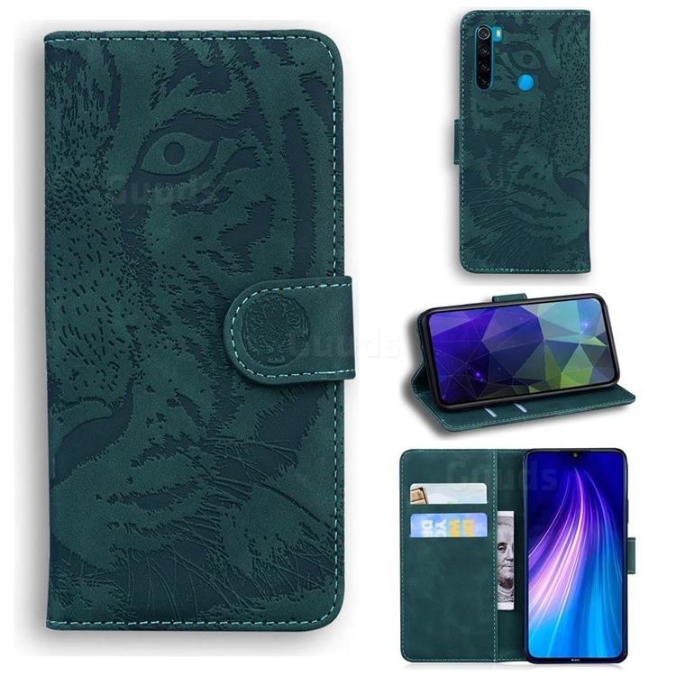 Intricate Embossing Tiger Face Leather Wallet Case for Mi Xiaomi Redmi Note 8T - Green