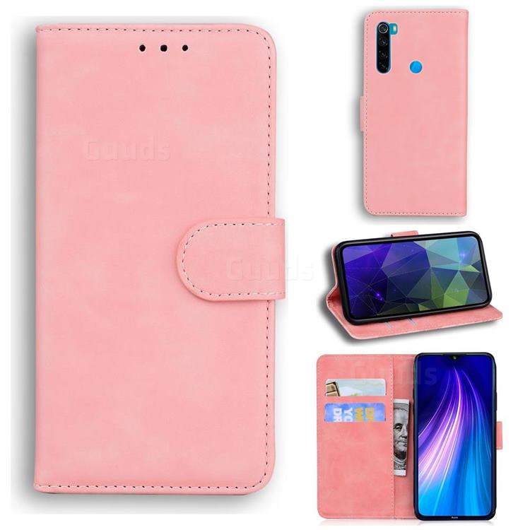 Retro Classic Skin Feel Leather Wallet Phone Case for Mi Xiaomi Redmi Note 8T - Pink