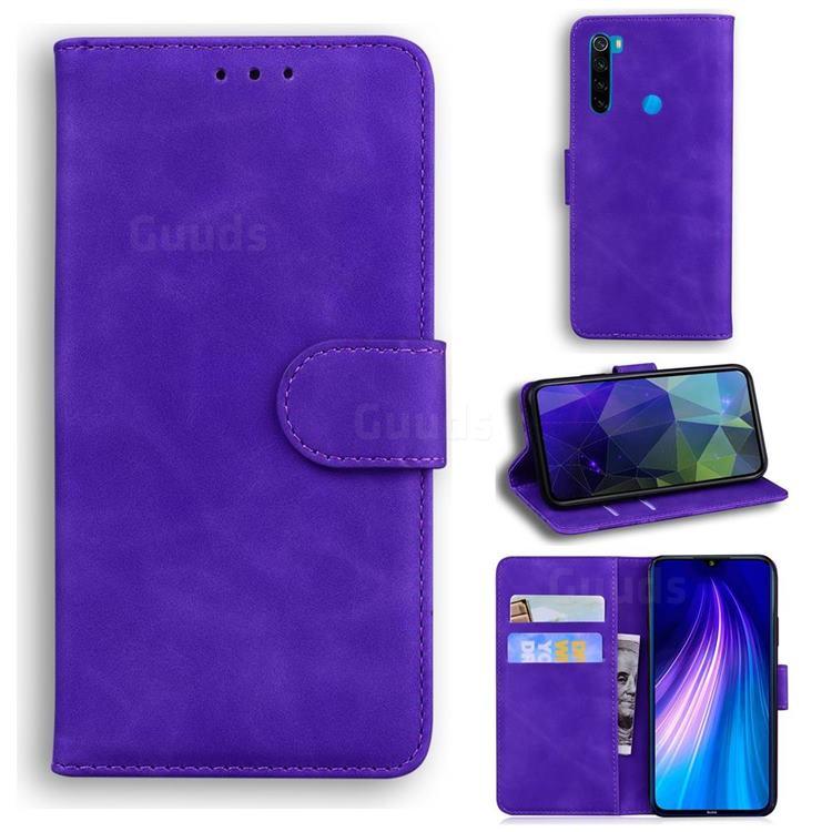 Retro Classic Skin Feel Leather Wallet Phone Case for Mi Xiaomi Redmi Note 8T - Purple