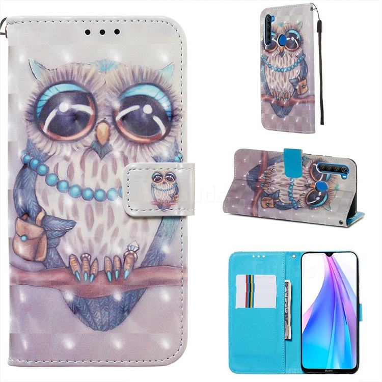 Sweet Gray Owl 3D Painted Leather Wallet Case for Mi Xiaomi Redmi Note 8T