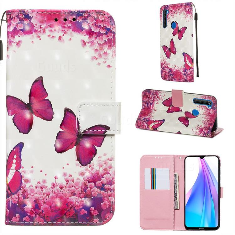 Rose Butterfly 3D Painted Leather Wallet Case for Mi Xiaomi Redmi Note 8T