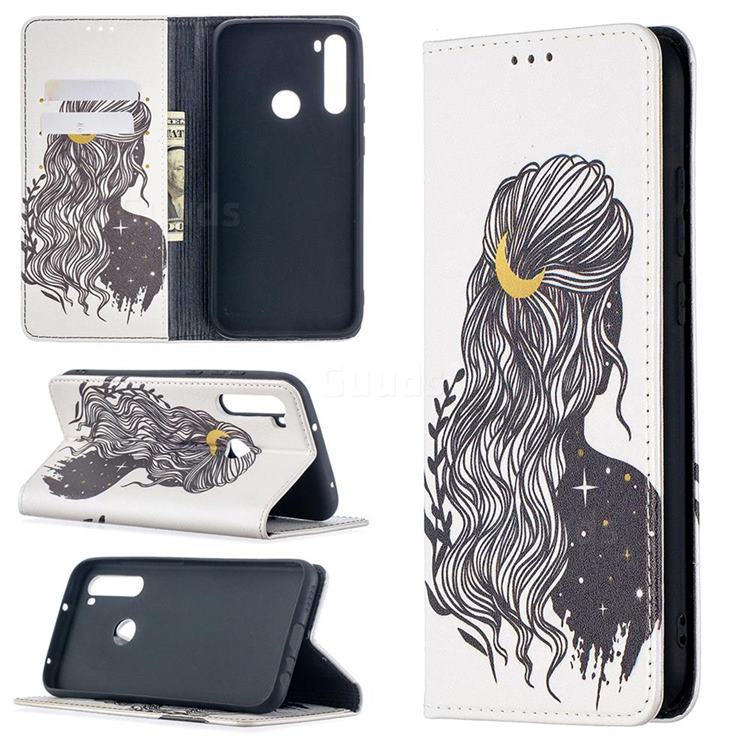 Girl with Long Hair Slim Magnetic Attraction Wallet Flip Cover for Mi Xiaomi Redmi Note 8T