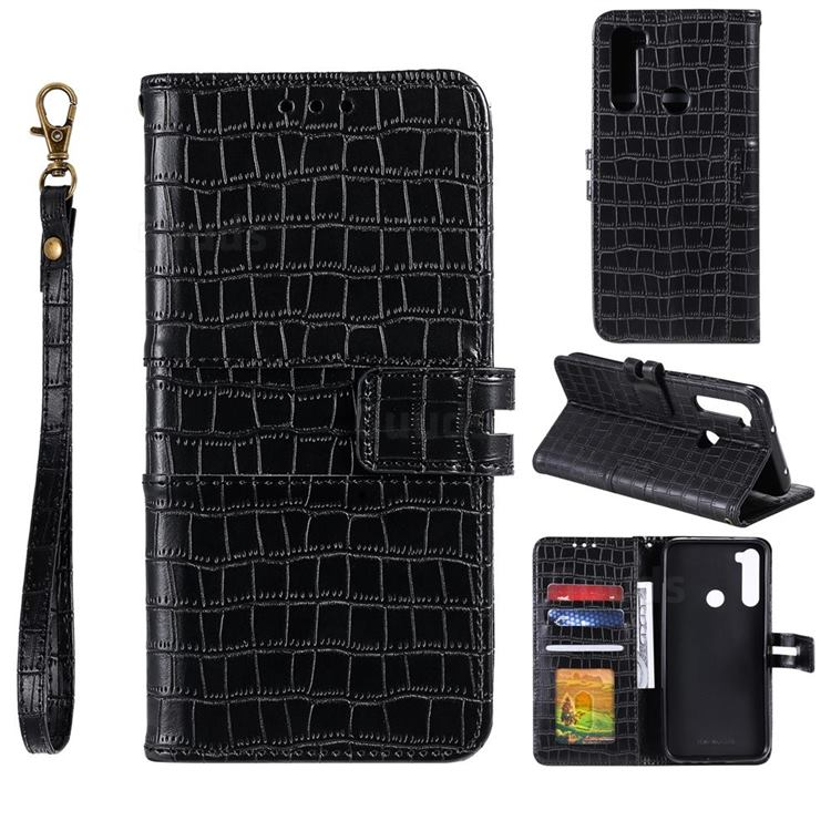Luxury Crocodile Magnetic Leather Wallet Phone Case for Mi Xiaomi Redmi Note 8T - Black