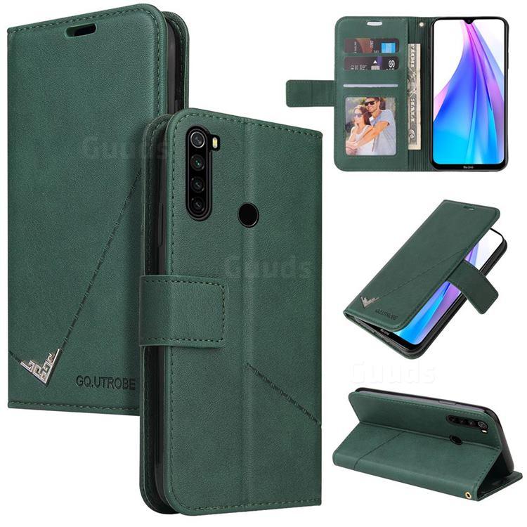 GQ.UTROBE Right Angle Silver Pendant Leather Wallet Phone Case for Mi Xiaomi Redmi Note 8T - Green