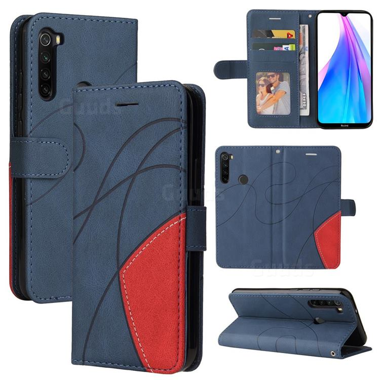 Luxury Two-color Stitching Leather Wallet Case Cover for Mi Xiaomi Redmi Note 8T - Blue