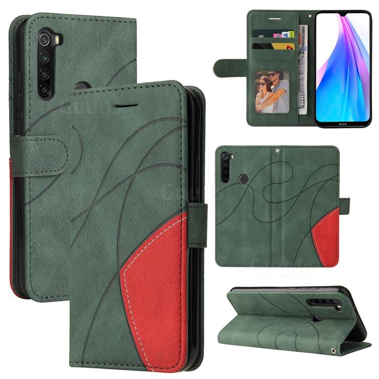 Luxury Two-color Stitching Leather Wallet Case Cover for Mi Xiaomi Redmi Note 8T - Green