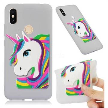 Rainbow Unicorn Soft 3D Silicone Case for Mi Xiaomi Redmi S2 (Redmi Y2) - Translucent White