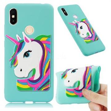 Rainbow Unicorn Soft 3D Silicone Case for Mi Xiaomi Redmi S2 (Redmi Y2) - Sky Blue