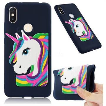 Rainbow Unicorn Soft 3D Silicone Case for Mi Xiaomi Redmi S2 (Redmi Y2) - Navy