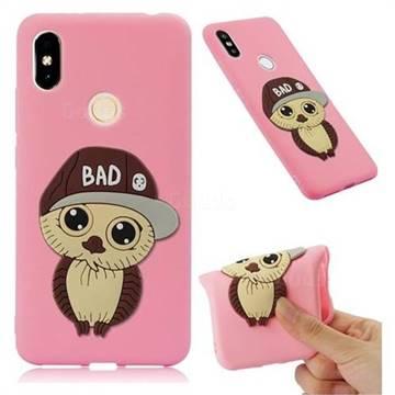 Bad Boy Owl Soft 3D Silicone Case for Mi Xiaomi Redmi S2 (Redmi Y2) - Pink